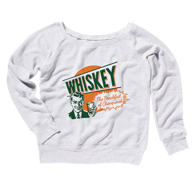 Whiskey The Breakfast of Champions Women's Off The Shoulder Sweatshirt-White - Famous IRL