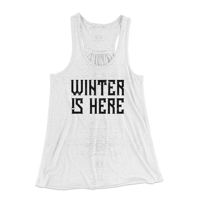 Winter is Here Women's Flowey Racerback Tank Top-Tank Top-Printify-White Marble-XS-Famous IRL