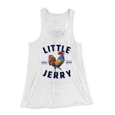 Little Jerry Women's Flowey Racerback Tank Top-White Marble - Famous IRL