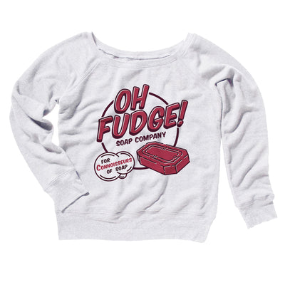 Oh Fudge! Soap Company Women's Off The Shoulder Sweatshirt-White - Famous IRL