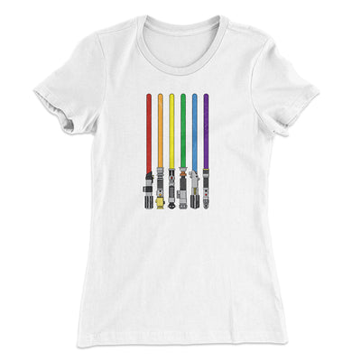 Lightsaber Color Rainbow Women's T-Shirt-Solid White - Famous IRL