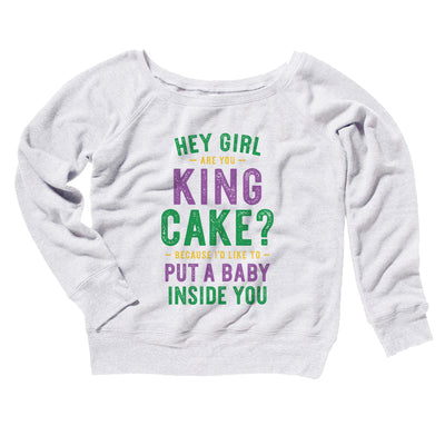 Are You King Cake? Women's Scoopneck Sweatshirt-White - Famous IRL