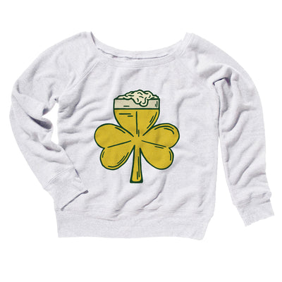 Beer Shamrock Women's Off The Shoulder Sweatshirt-White - Famous IRL