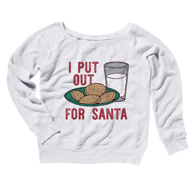 I Put Out for Santa Women's Off The Shoulder Sweatshirt-White - Famous IRL