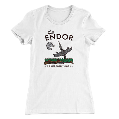 Visit Endor Women's T-Shirt-Solid White - Famous IRL