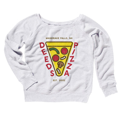 Deeds Pizza Women's Off The Shoulder Sweatshirt-White - Famous IRL