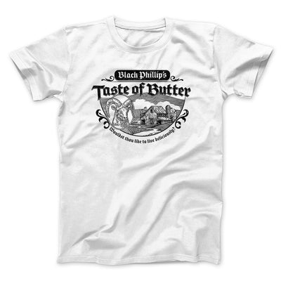 Black Phillip's Taste Of Butter Men/Unisex T-Shirt-T-Shirt-Printify-White-L-Famous IRL