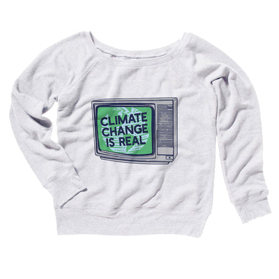 PSA: Climate Change is Real Women's Off The Shoulder Sweatshirt-White - Famous IRL