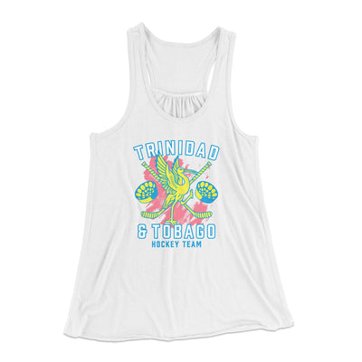 Trinidad & Tobago Hockey Women's Flowey Tank Top-Women's Flowey Racerback Tank Top-White Label DTG-White-XS-Famous IRL