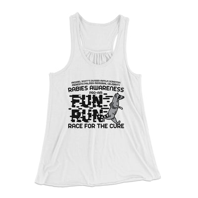 Rabies Awareness Fun Run Women's Flowey Racerback Tank Top-White - Famous IRL