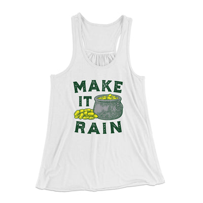 Make It Rain Women's Flowey Racerback Tank Top-White - Famous IRL