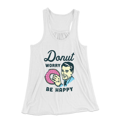 Donut Worry Be Happy Women's Flowey Racerback Tank Top-White - Famous IRL
