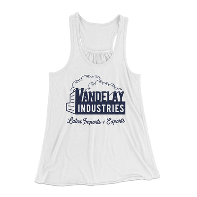 Vandelay Industries Women's Flowey Racerback Tank Top-White - Famous IRL