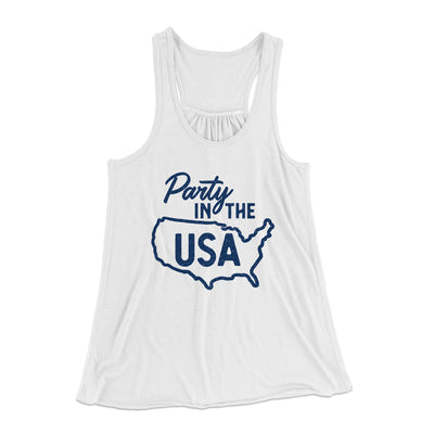 Party in the USA Women's Flowey Racerback Tank Top-White - Famous IRL