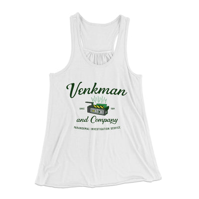 Venkman and Company Women's Flowey Racerback Tank Top-White - Famous IRL