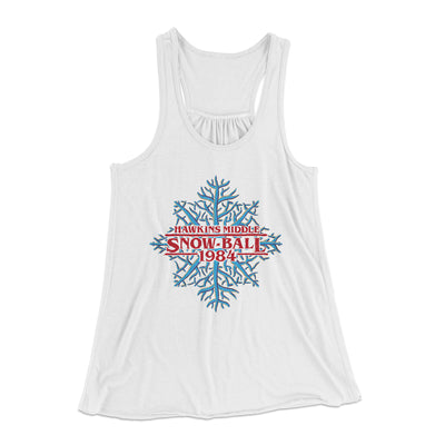 Hawkins Middle Snow Ball Women's Flowey Racerback Tank Top-White - Famous IRL