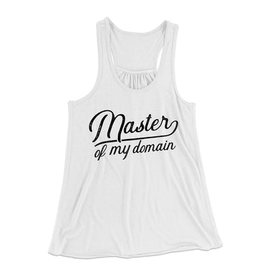 Master of my Domain Women's Flowey Racerback Tank Top-White - Famous IRL