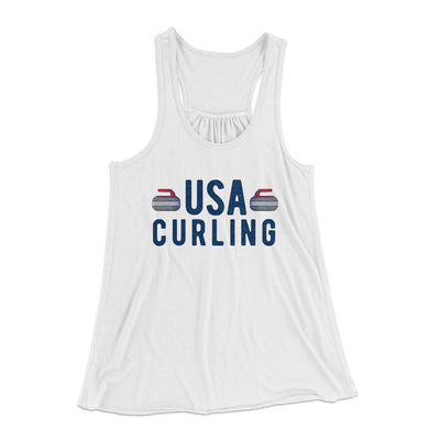 USA Curling Women's Flowey Racerback Tank Top-White - Famous IRL