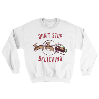 Don't Stop Believing Men/Unisex Ugly Sweater-White - Famous IRL