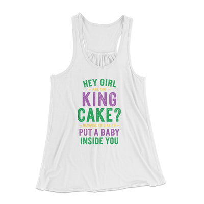 Are You King Cake? Women's Flowey Tank-White - Famous IRL