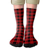 Red & Black Lumberjack Adult Crew Socks- - Famous IRL