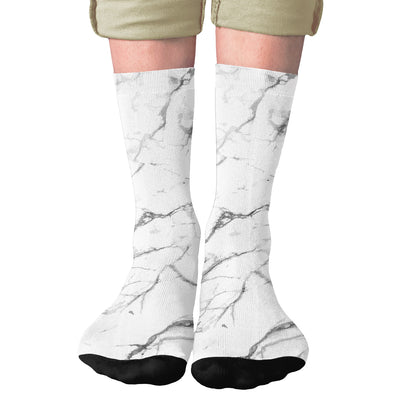 White Marble Adult Crew Socks- - Famous IRL
