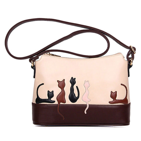 Vintage Cat Pattern Crossbody Bag - Handbags Wallets Galore