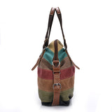 Large Multi-Striped Canvas Shoulder Bag - Handbags Wallets Galore