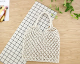 Mesh Rope Weave Tie Buckle Tote Handbag - Handbags Wallets Galore
