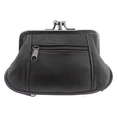 Genuine Leather Mini Change Purse with Zipper - Handbags Wallets Galore