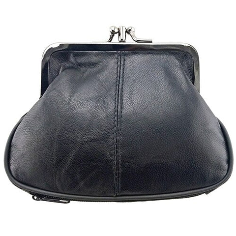 Genuine Leather Mini Coin Purse Metal Hasp Closure - Handbags Wallets Galore