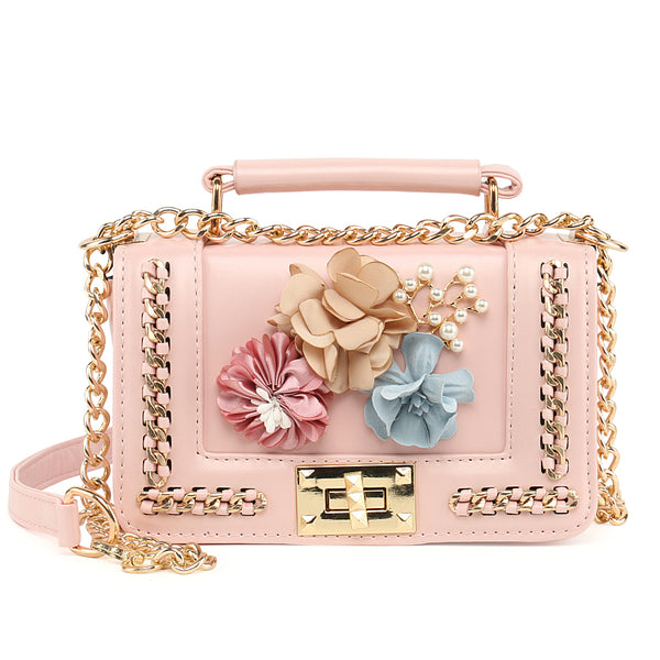 Flower Design Mini Chain Crossbody Bag - Handbags Wallets Galore