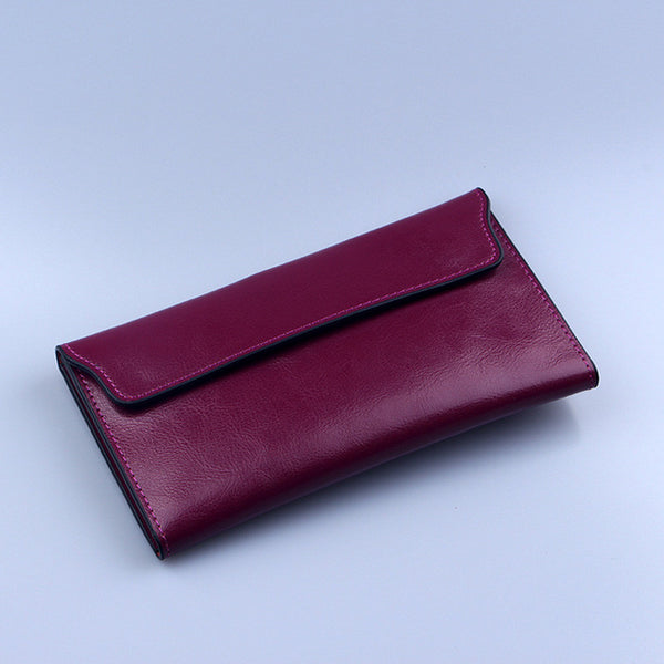 Genuine Leather Cardholder Flap Clutch Wallet - 3 Colors - Handbags Wallets Galore