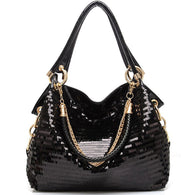 Leather Sequine Top-Handle Tote Handbag - Handbags Wallets Galore