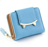 Adorable Cat Ear Leather Trifold Slim Mini Wallet - 5 Colors - Handbags Wallets Galore