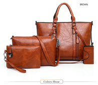 Oil Wax Luxury Leather 4 Piece Crossbody Handbag Sets - 4 Colors - Handbags Wallets Galore