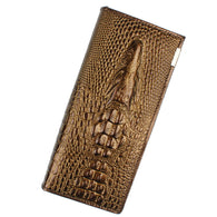 Crocodile Head Leather Clutch Wallet - 4 Colors - Handbags Wallets Galore