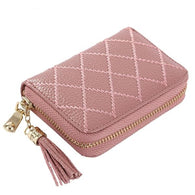 Genuine Leather Mini Card Case Holder with Tassel - Handbags Wallets Galore
