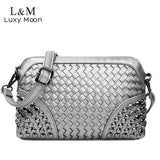 Silver Crossbody Woven Rivet Shoulder Handbag - Handbags Wallets Galore