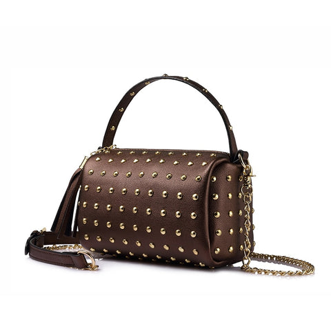 Mini Crossbody Bag with Beautiful Rivets and Tassel - Handbags Wallets Galore