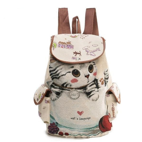 Lovely Cat Printed Canvas Drawstring Backpack - Handbags Wallets Galore