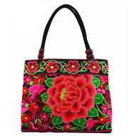 Double Faced Flower Embroidered Shoulder Bag - Handbags Wallets Galore
