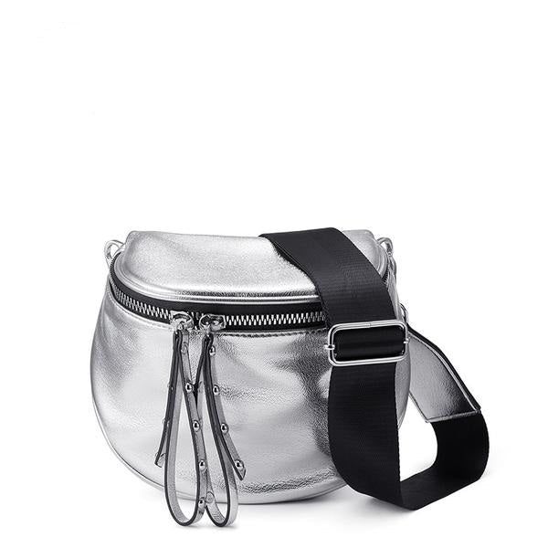Metallic Silver Fashion Crossbody Bag - Handbags Wallets Galore