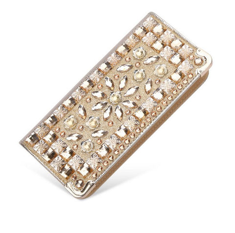 Luxury Rhinestone Patent Leather Wallet - Handbags Wallets Galore
