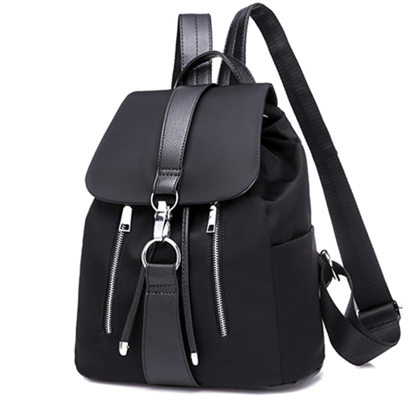 Nylon Zipper Lock Design Backpack - Handbags Wallets Galore
