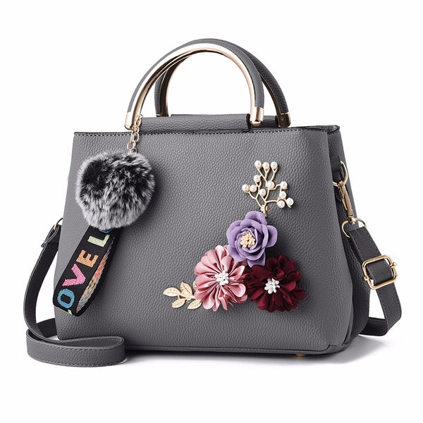 Luxury Designer Ladies Flowered Leather Shoulder Handbag - 7 Colors - Handbags Wallets Galore