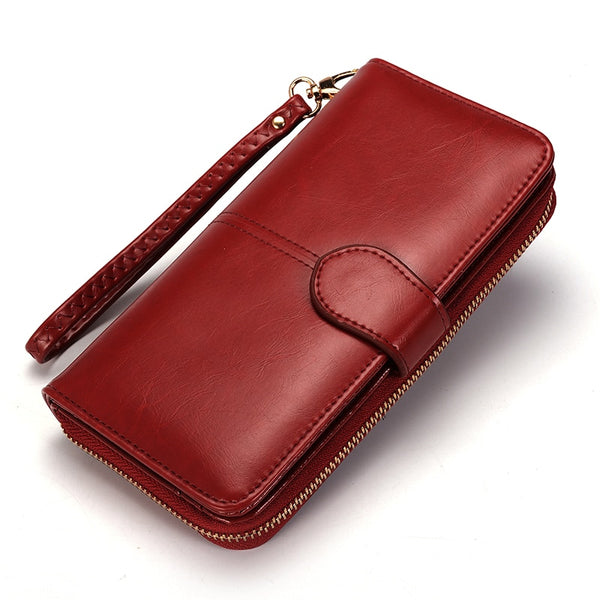 Leather Card Money Coin Purse Wristlet Wallet - Handbags Wallets Galore