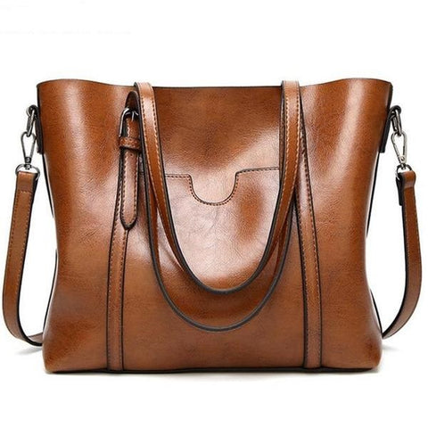 Leather Tote Bag with Front Design Pocket - Handbags Wallets Galore