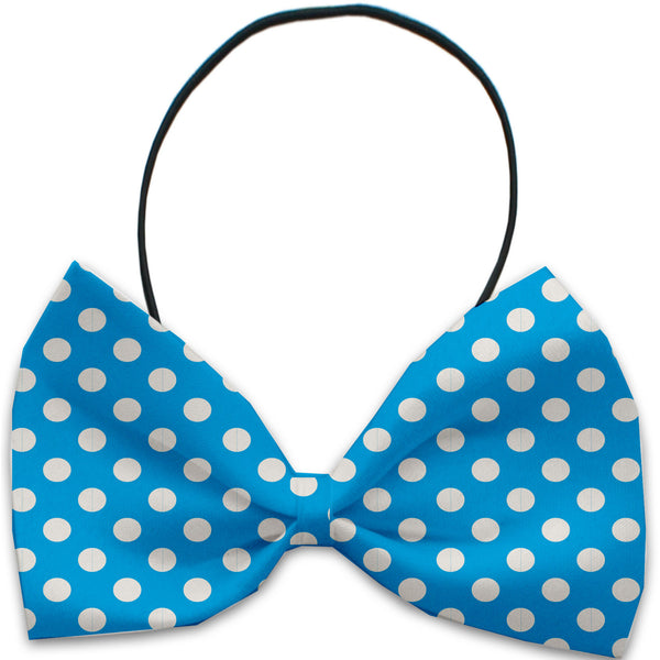 Aqua Blue Swiss Dots Dog Bow Tie