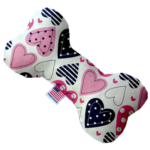 "6"" Plush Mixed Hearts Bone Dog Toy - Bark Label"